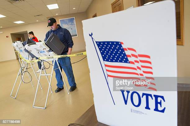 Voters cast their ballots at a polling place on May 3 2016 in Fowler Indiana Indiana residents are voting today to decide Republican and Democratic...
