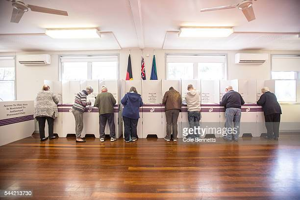 Voters cast their ballots at Kingswood Park Public School hall in the electorate of Lindsay on July 2 2016 in Penrith Australia Voters head to the...