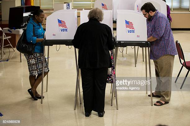 Voters cast their ballots at Rocking Horse Road Center in the 2016 Maryland Primary Elections in Rockville Md USA on April 26 2016