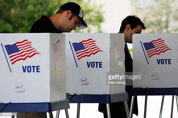 Voters cast their ballots at the Boca Raton Fire Rescue Station on November 4 2008 in Palm Beach County Florida After nearly two years of...
