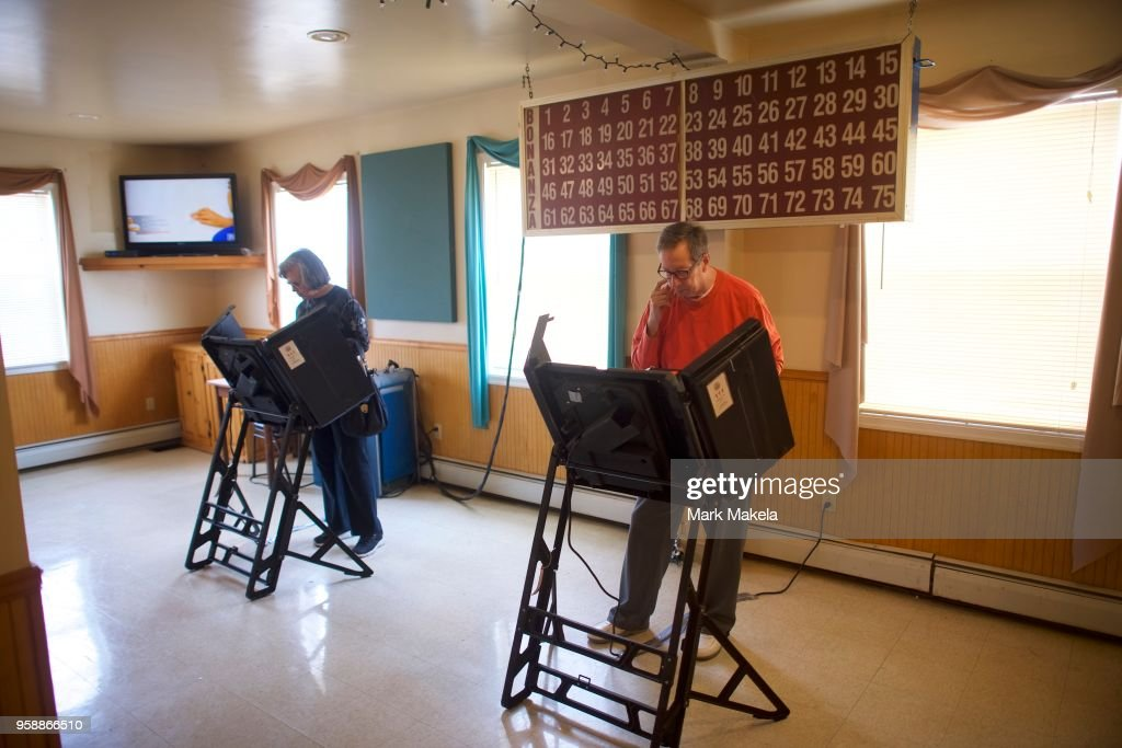 Voters cast their ballots at the Glen Lyon Italian American Sporting Club polling station during the 2018 Pennsylvania Primary Election on May 15, 2018 in Glen Lyon, Pennsylvania. In the second major May primary day nationwide, four states go to the polls: Idaho, Nebraska, Oregon, and Pennsylvania.