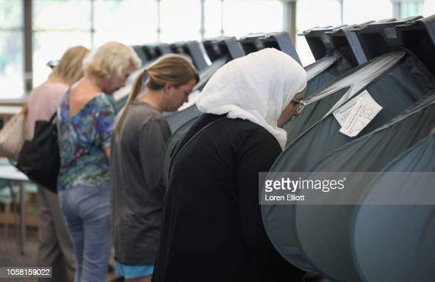 Voters cast their ballots at the Rummel Creek Elementary polling place on November 6 2018 in Houston Texas Voters visited polling places around Texas...
