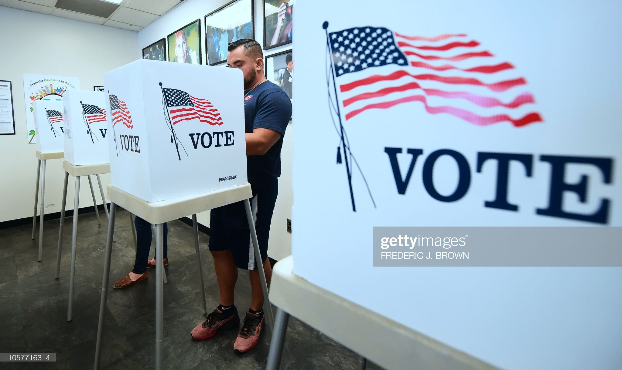 U.S. Presidential Election: Male voter at voting booth