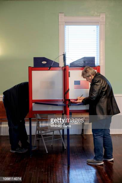 Voters cast their midterm ballots on November 6, 2018 at Briles Schoolhouse in Peoria Township, Kansas. Voters are turning out in historic numbers to...