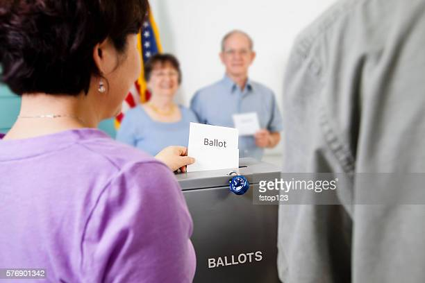 Voters casting ballot in November United States elections.  Voting box.