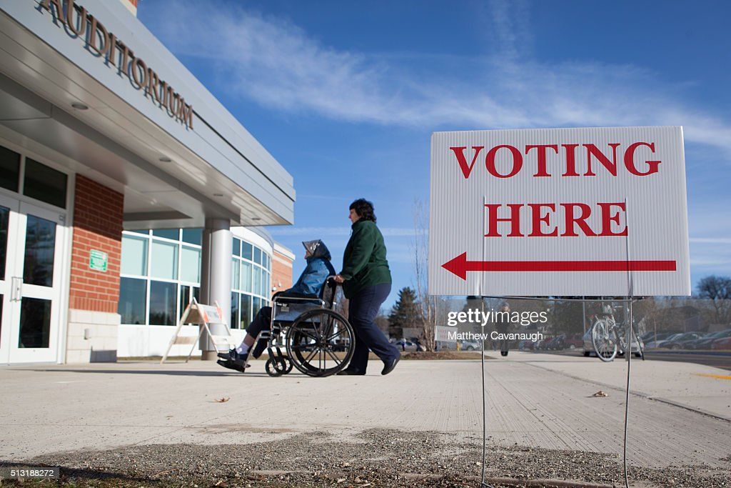 Voters enter a polling place inside Greenfield High School on March 01, 2016 in Greenfield, MA. Officials are expecting a record turnout of voters in Massachusetts, one of a dozen states holding Super Tuesday presidential primaries or caucuses.