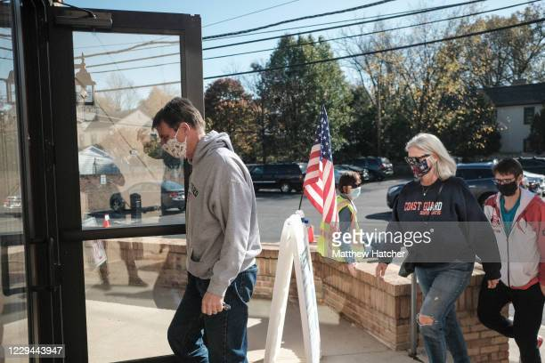 Voters enter the Congregation Aguda Achim in Bexley to cast their ballots for the 2020 Election on November 3, 2020 in Columbus, Ohio. After a...
