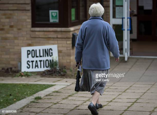 A voters enters a polling station on October 20 2016 in Witney England The byelection in Witney Oxfordshire was prompted by the resignation of former...