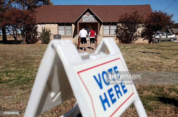 Voters exit a polling location after voting on November 6 2012 in Lipan Texas Americans across the country participate in Election Day as President...