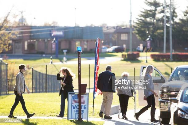 RICHMOND KENTUCKY USA NOVEMBER 6 2018 Voters head to the polls at the Eastern Kentucky University's Center for the Arts in Richmond Ky on November 6...