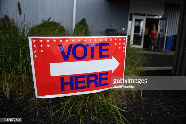 Voters head to the polls at the Licking County Family YMCA to vote in the special election for Ohio's 12th District on Tuesday August 7 2018 in...