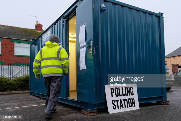 Voters in Hartlepool head to the polls during polling day for the 2019 general election on December 12 2019 in Hartlepool England The current...