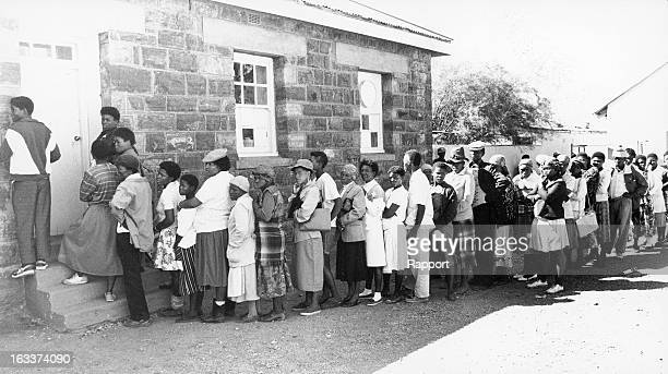 Voters in long queues during the 1994 general elections on April 27 in South Africa.
