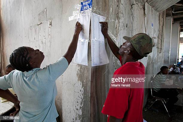 Voters in PortauPrince Haiti look for their names after polls were shut down on Sunday November 28 2010 Amid chaos confusion and isolated instances...