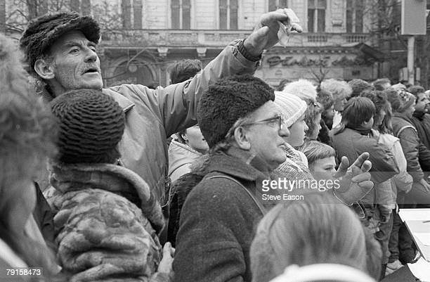 Voters in the streets on election day during the 'Velvet Revolution' in which the Communist government of Czechoslovakia was peacefully overthrown...
