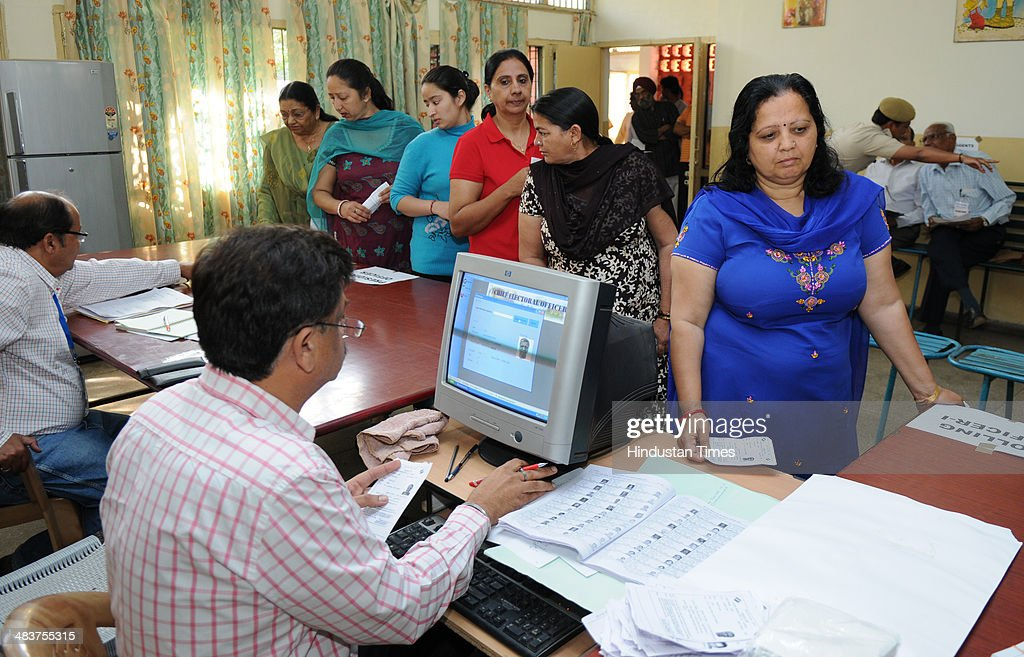 Voters inside polling booth in sector 15 during voting for the General election 2014 on April 10 2014 in Chandigarh India In Chandigarhover six lakh..