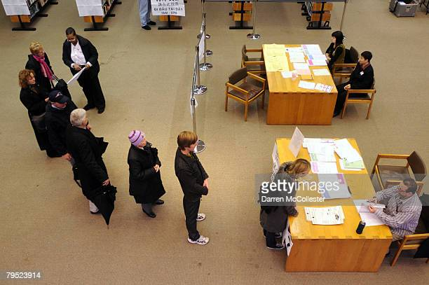 Voters line up at a voting precinct February 5 2008 in Boston Massachusetts Massachusetts voters are expected to turn out in record number today the...