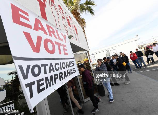 Voters line up outside the Culinary Workers Union Hall Local 226 on the first day of early voting for the upcoming Nevada Democratic presidential...