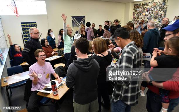 Voters participate in a Nevada Democratic caucus at Coronado High School on February 22 2020 in Henderson Nevada Nevada is the third contest in the...
