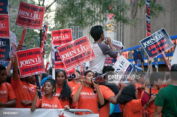 Voters rally in support of New York City Comptroller, John Liu , before the final debate of the primaries.