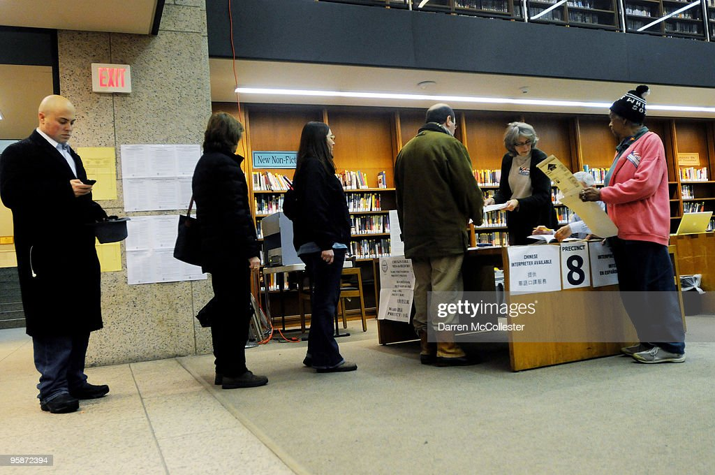 Voters stand in line at the polls at the Boston Public Library January 19, 2010 in Boston, Massachusetts. The special election to fill the seat of late U.S. Senator Edward M. Kennedy is in a near dead heat between democratic nominee Martha Coakley and Scott Brown.