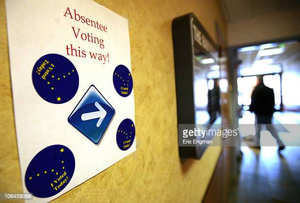 Voters turn out at an Absentee Voting Station in the RAM Building on Gambell Street November 2 2010 in Anchorage Alaska Joe Miller the Republican...