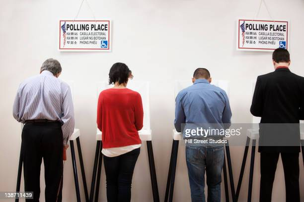 voters voting in polling place - gardena california stock pictures, royalty-free photos & images