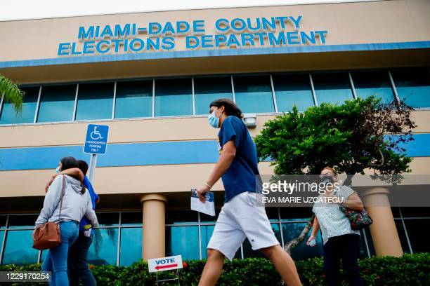 Voters wait in line to cast their early ballots at Miami-Dade County Election Department in Miami, Florida on October 19, 2020. - Early voting kicked...