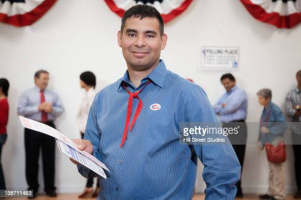 voters waiting to vote in polling place - gardena california stock pictures, royalty-free photos & images
