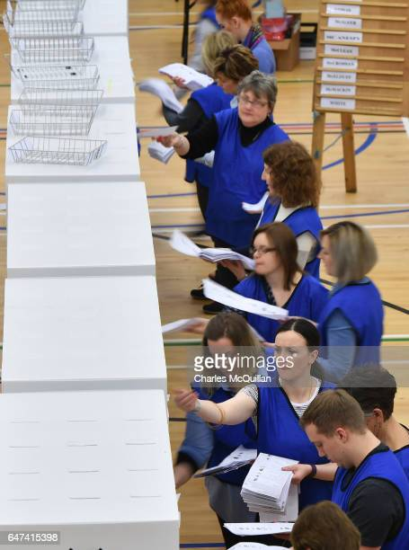 Votes are counted as the Northern Ireland Stormont election count takes place at the Omagh Leisure centre on March 3 2017 in Omagh Northern Ireland A...