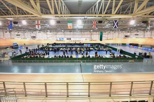 Votes are counted at the Geraint Thomas National Velodrome of Wales in Newport on April 04, 2019. The Newport West By-election is being held...