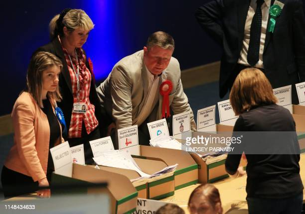 Votes are counted at the Kingsgate Conference Centre in Peterborough England on June 6 2019 A local byelection was triggered when Peterborough's...