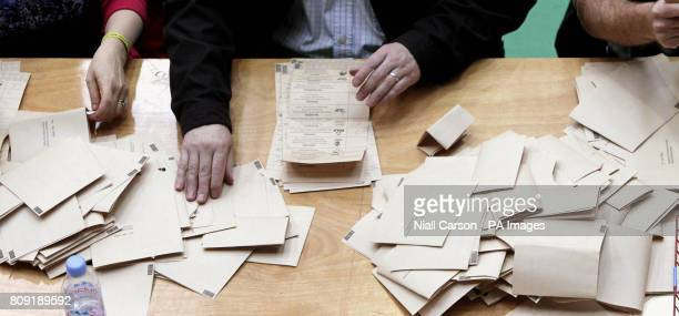 Votes are counted for Northern Ireland First Minister Peter Robinson's East Belfast Assembly seat, at Ards Leisure centre in County Down.