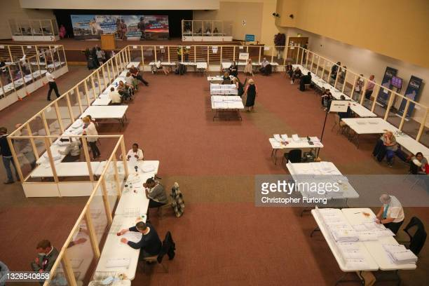 Votes are counted for the Batley and Spen by-election at Cathedral House on July 2, 2021 in Huddersfield, England. Due to the incumbent Labour MP,...