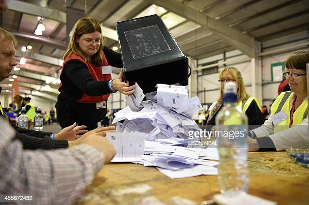 Votes are counted in the Royal Highland Centre in Edinburgh Scotland on September 18 immediately after the polls close in the referendum on...