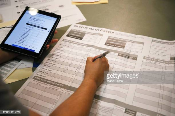 Votes are recorded at a Democratic presidential caucus site at East Las Vegas Community Center on February 22 2020 in Las Vegas Nevada Nevada...