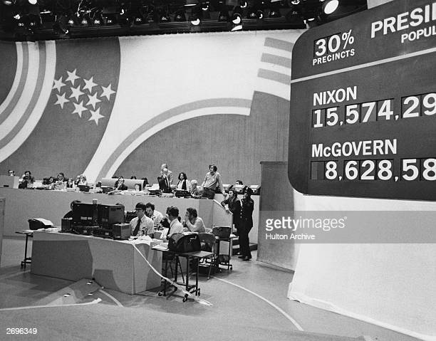 Votes are tabulated on the set of ABCTV's news coverage of the presidential election between Richard Nixon and George McGovern New York City Nixon...