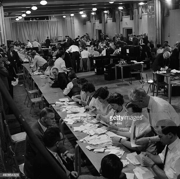 Votes being counted during the General Election Hillingdon Civic Centre London April 9th 1964