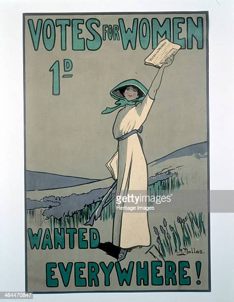 'Votes for Women' 1909 Poster in the suffragette colours of green purple and white advertising the newspaper Votes for Women designed by Hilda Dallas...
