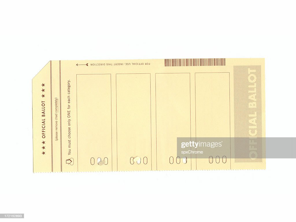 Voting Ballot with Hanging Chad : Stock Photo