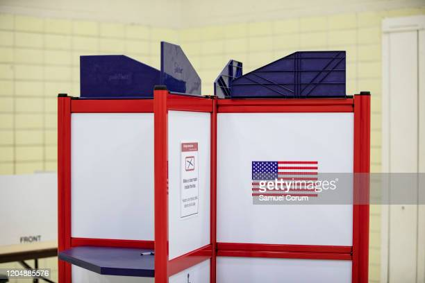 A voting booth in the Madison Community Center polling place before polls open on Super Tuesday for the Democratic presidential primary voting on...