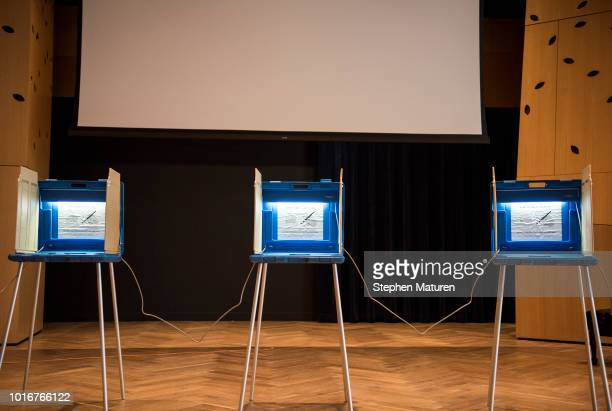 Voting booths are set up at a 2018 Minnesota primary election polling place inside the Westminster Presbyterian Church on August 14 2018 in...