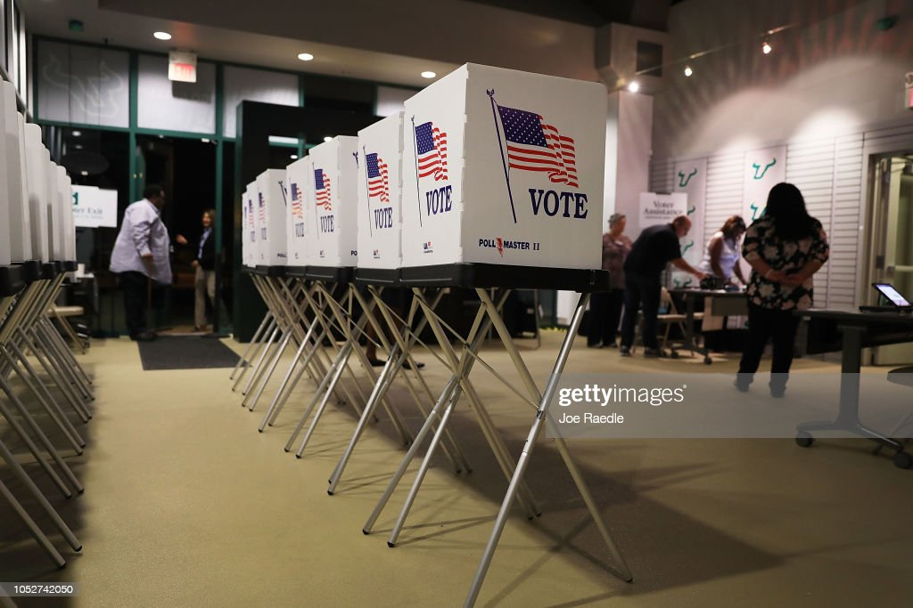 Voters Head To Polls As Early Voting Starts In Florida : News Photo