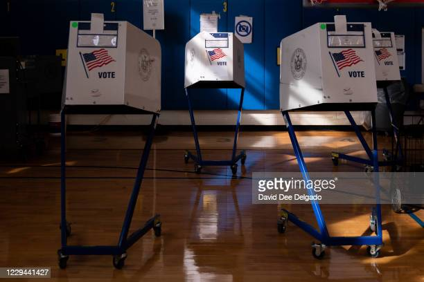 Voting booths at Public School 160 on November 3, 2020 in the Brooklyn borough of New York City. After a record-breaking early voting turnout,...