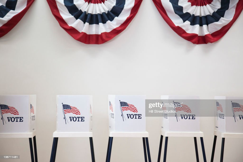 Voting booths in polling place : Stock Photo