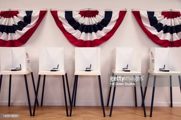 voting booths in polling place - election voting stock pictures, royalty-free photos & images