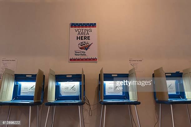Voting booths inside the Early Vote Center in Minneapolis Minnesota on October 5 2016 Voters in Minnesota can submit their ballot for the General...