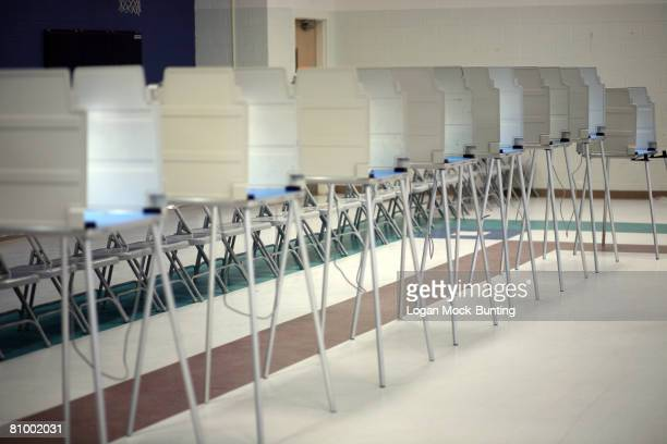 Voting boths await use at the Codington Elementary School polling station on May 6 2008 in Wilmington North Carolina Democratic presidential hopefuls...
