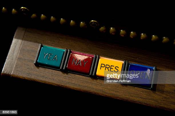 Voting buttons in the U.S. House of Representatives chamber are seen December 8, 2008 in Washington, DC. Members of the media were allowed access to...