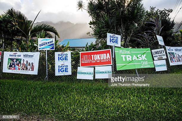 Voting Candidate Signs and Photos For Senator Brian Schatz Jill Tokuda David Ige Governor Shan Tsutsui Lt Governor and District House Jarrett...
